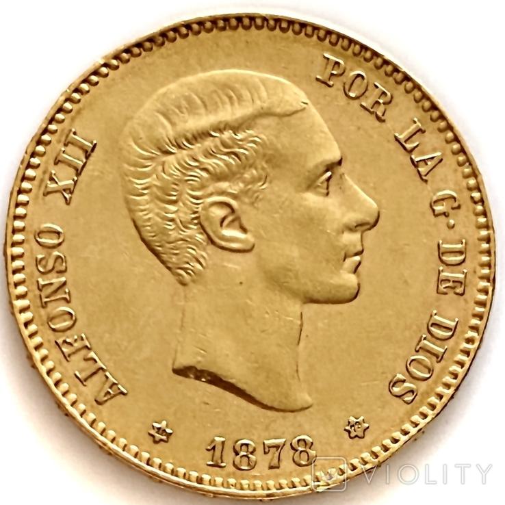 25 песет. 1878. Альфонсо XII. Испания (золото 900, вес 8,07 г) (8.), фото №2