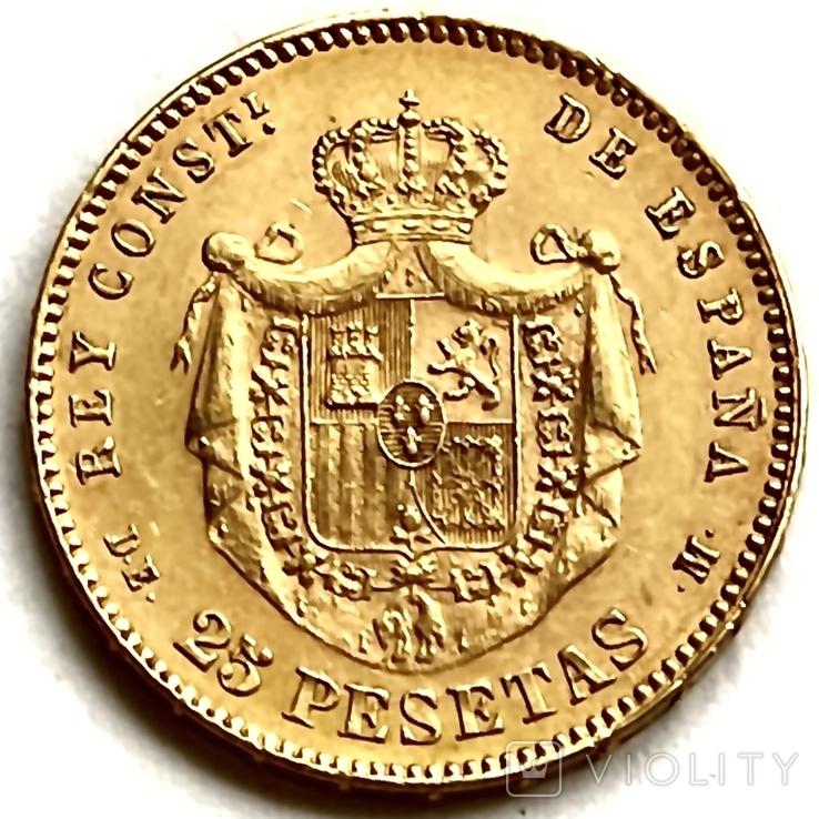 25 песет. 1878. Альфонсо XII. Испания (золото 900, вес 8,07 г) (8.), фото №3