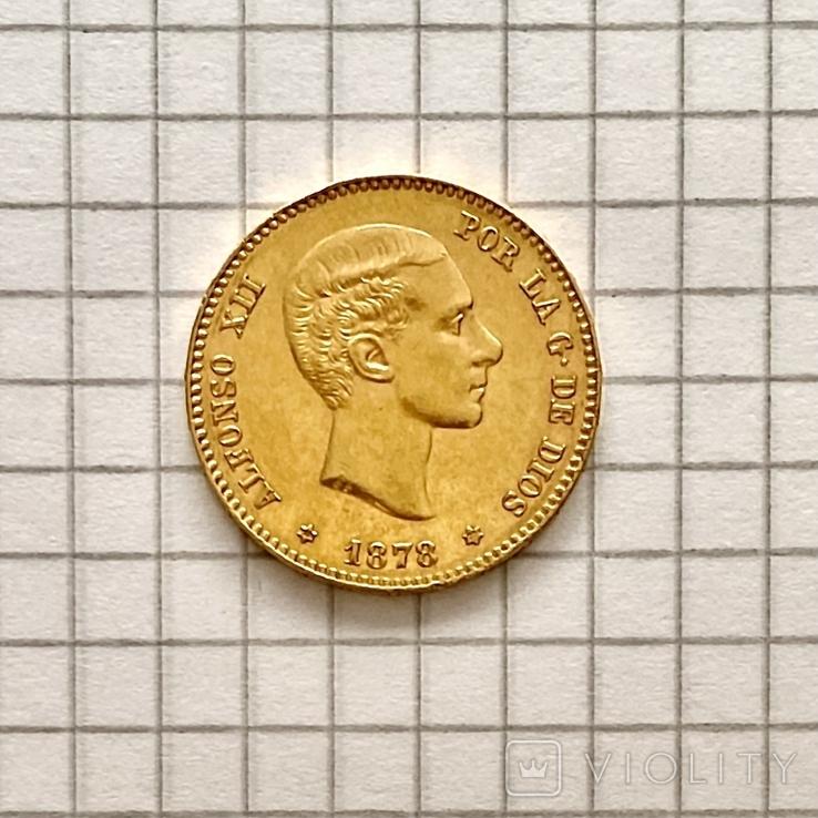 25 песет. 1878. Альфонсо XII. Испания (золото 900, вес 8,07 г) (8.), фото №4