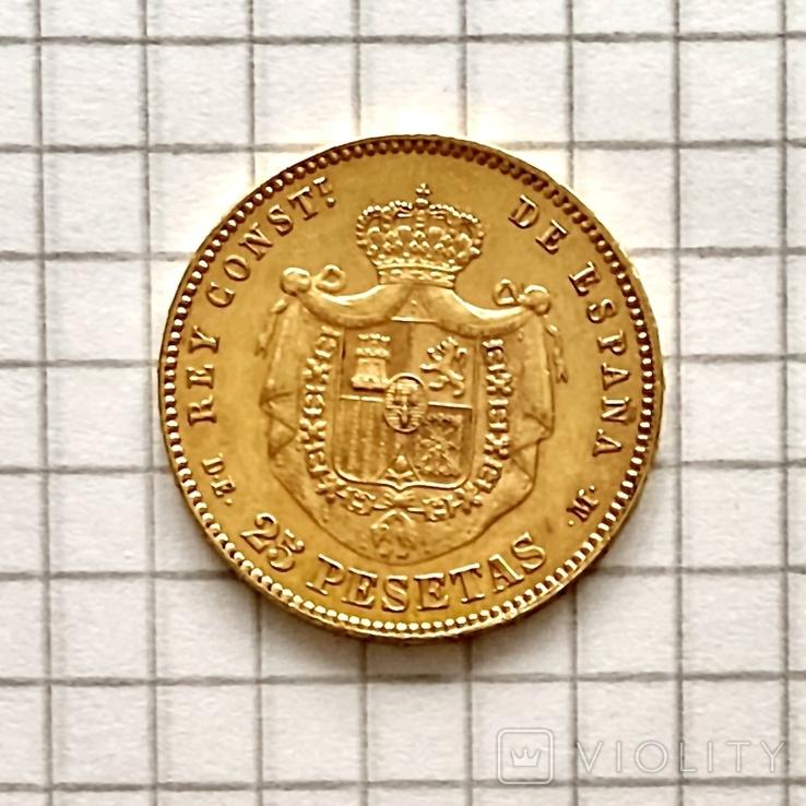 25 песет. 1878. Альфонсо XII. Испания (золото 900, вес 8,07 г) (8.), фото №5