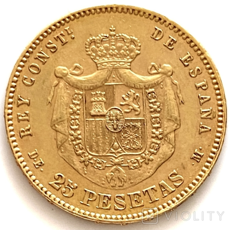 25 песет. 1878. Альфонсо XII. Испания (золото 900, вес 8,07 г) (8.), фото №7