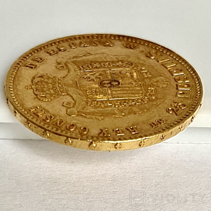 25 песет. 1878. Альфонсо XII. Испания (золото 900, вес 8,07 г) (8.), фото №9