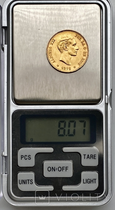 25 песет. 1878. Альфонсо XII. Испания (золото 900, вес 8,07 г) (8.), фото №12