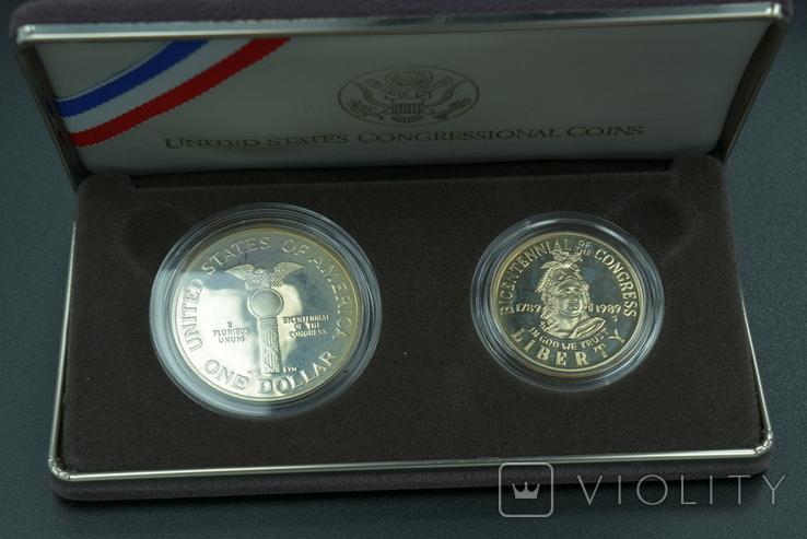 """США, подарочный набор """"200 лет Конгрессу"""", 1 доллар (серебро) и 50 центов, 1989г, фото №2"""