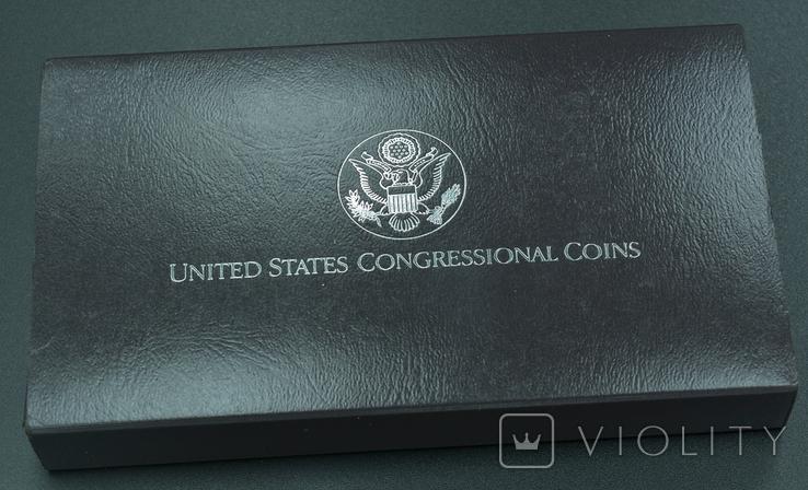 """США, подарочный набор """"200 лет Конгрессу"""", 1 доллар (серебро) и 50 центов, 1989г, фото №3"""