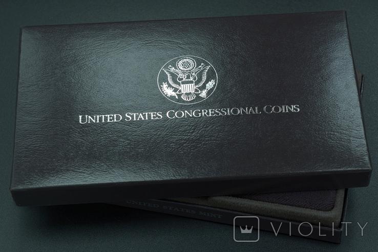 """США, подарочный набор """"200 лет Конгрессу"""", 1 доллар (серебро) и 50 центов, 1989г, фото №4"""