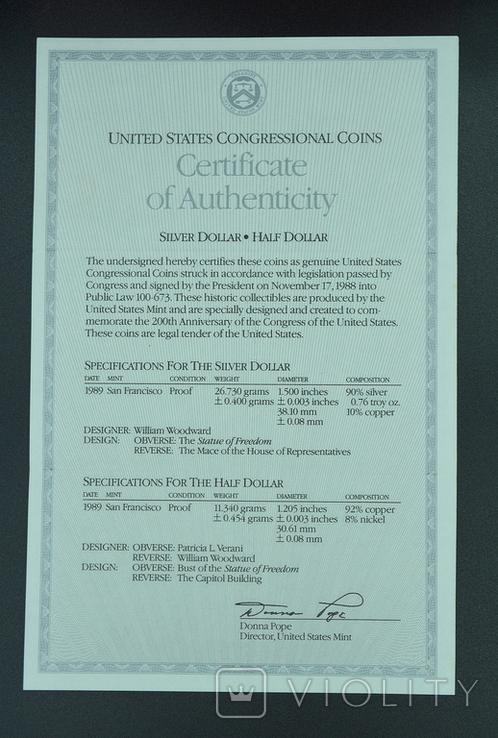 """США, подарочный набор """"200 лет Конгрессу"""", 1 доллар (серебро) и 50 центов, 1989г, фото №7"""
