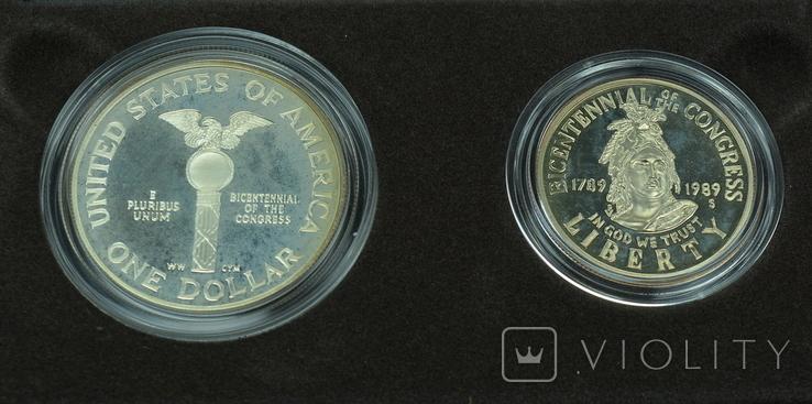 """США, подарочный набор """"200 лет Конгрессу"""", 1 доллар (серебро) и 50 центов, 1989г, фото №8"""