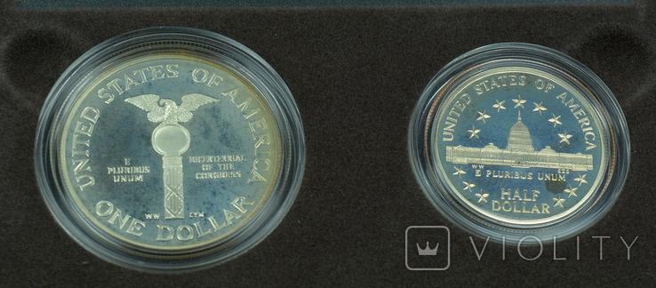 """США, подарочный набор """"200 лет Конгрессу"""", 1 доллар (серебро) и 50 центов, 1989г, фото №10"""