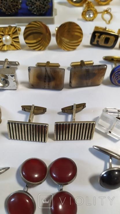 Запонки 30 пар+ зажимы для галстуков., фото №10