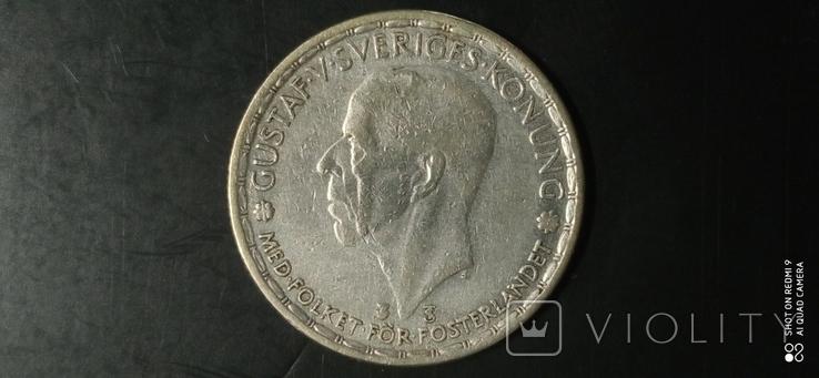 1 крона 1946г. Швеция. Серебро., фото №2