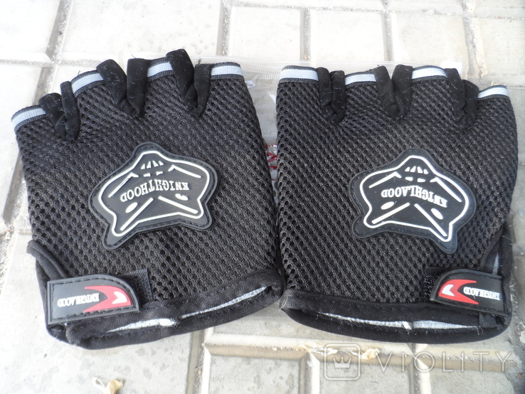 Вело перчатки черные, фото №3