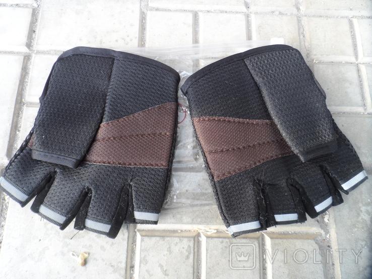 Вело перчатки черные, фото №4