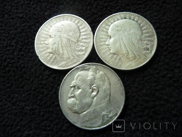 15 Злотых Серебро Пилсудский Ядвига 1932 1936 - 3 монеты, фото №2