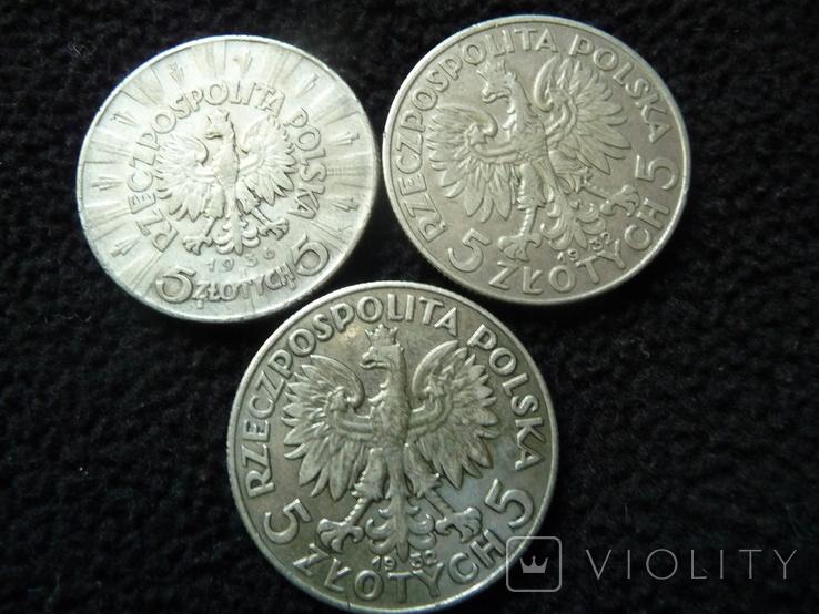 15 Злотых Серебро Пилсудский Ядвига 1932 1936 - 3 монеты, фото №5