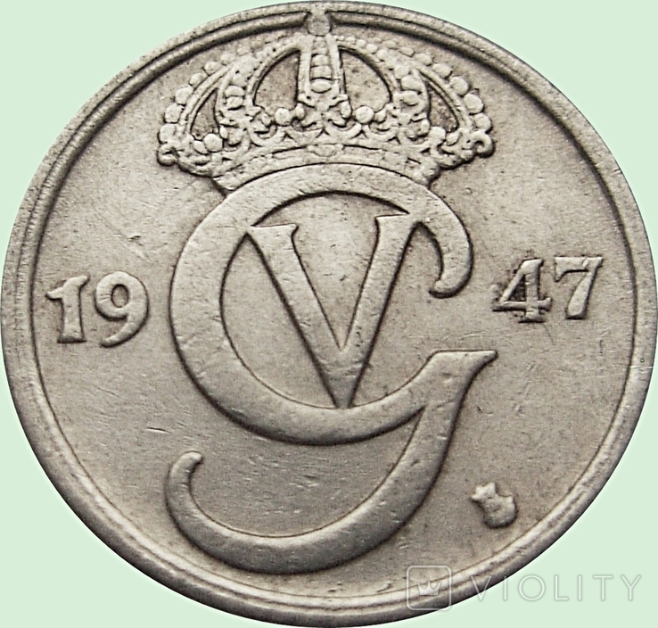 """83.Швеция 10 эре, 1947  год. """"GV"""" на аверсе, фото №2"""