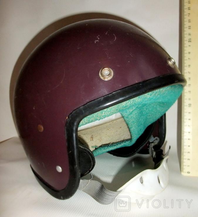 Шлем - каска с защитой для подбородка мотоциклиста из СССР., фото №4