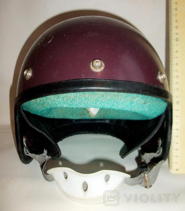Шлем - каска с защитой для подбородка мотоциклиста из СССР., фото №5