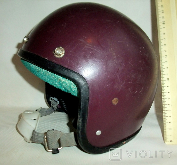 Шлем - каска с защитой для подбородка мотоциклиста из СССР., фото №2