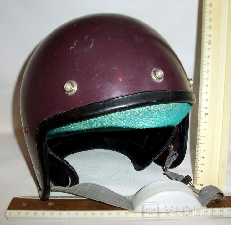 Шлем - каска с защитой для подбородка мотоциклиста из СССР., фото №11