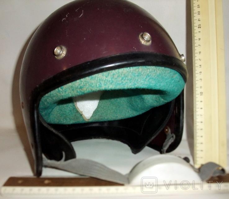 Шлем - каска с защитой для подбородка мотоциклиста из СССР., фото №12