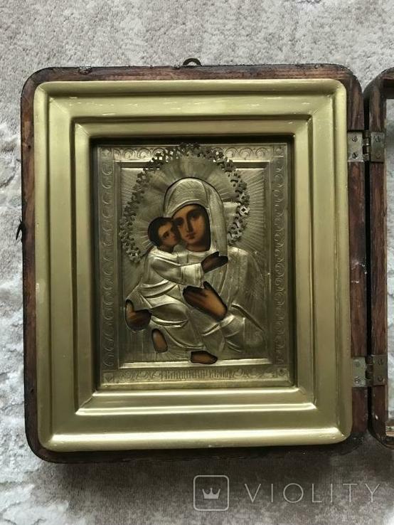 Икона Владимирская Б.М. в окладе и киоте, фото №7