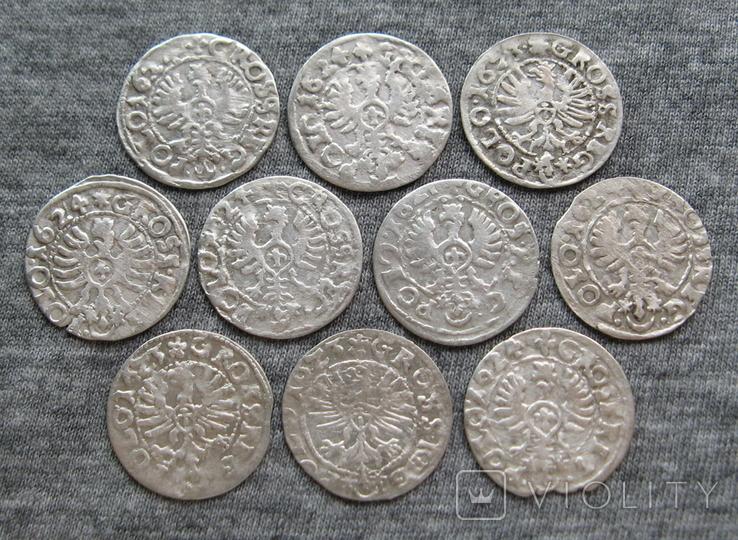 Коронные гроши 1600-х годов. Сиг. ІІІ Ваза ( 10 штук )., фото №6
