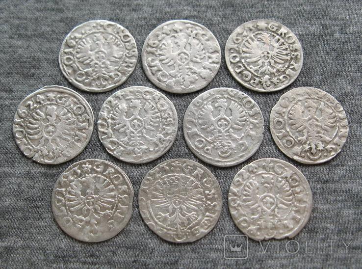 Коронные гроши 1600-х годов. Сиг. ІІІ Ваза ( 10 штук )., фото №7