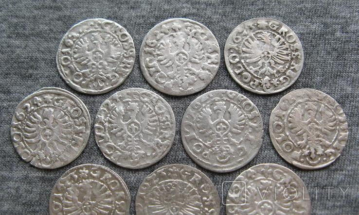 Коронные гроши 1600-х годов. Сиг. ІІІ Ваза ( 10 штук )., фото №10