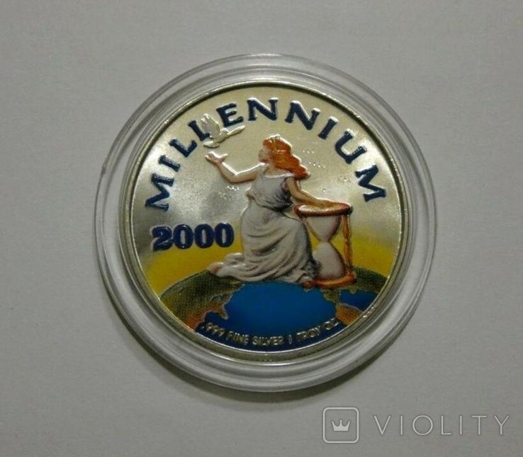 Либерия 20 долларов 2000 - МИЛЛЕНИУМ - серебро 999, цветная эмаль, унция, фото №3