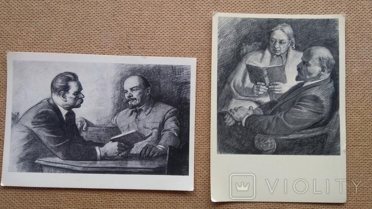 Пара открыток Ленин с М.Горьким и Крупской, фото №2