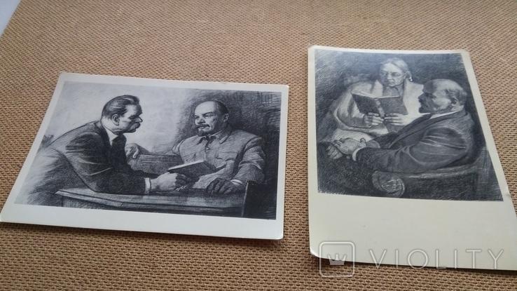 Пара открыток Ленин с М.Горьким и Крупской, фото №3