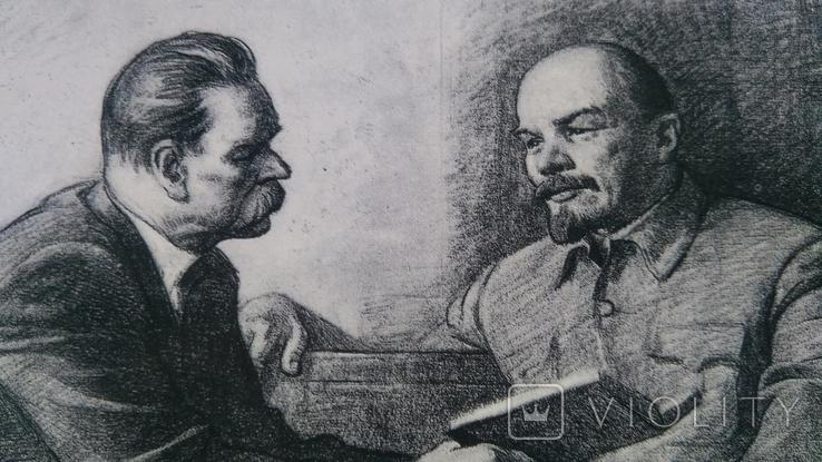 Пара открыток Ленин с М.Горьким и Крупской, фото №5