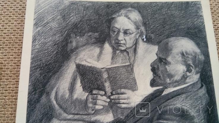 Пара открыток Ленин с М.Горьким и Крупской, фото №7