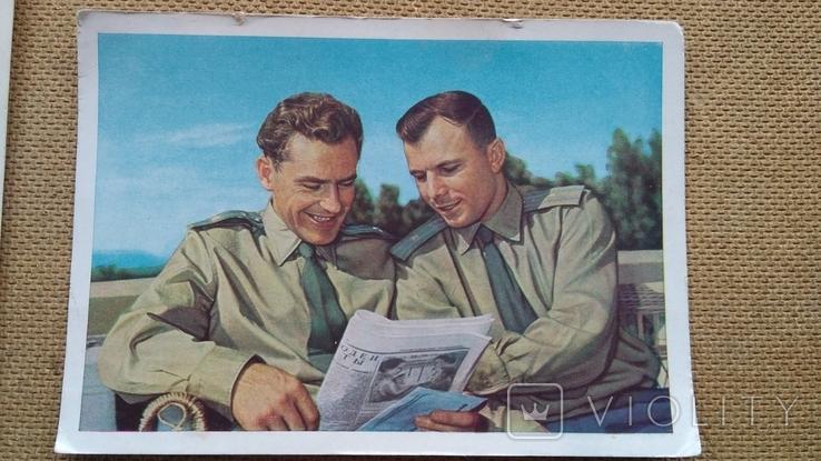 Пара открыток Первая женщина-космонавт В.Терешкова и Ю.Гагарин с Г.Титовым, фото №4