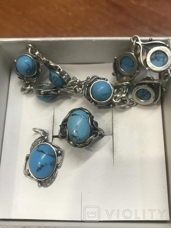 Браслет, кольцо и кулон Серебро, фото №2