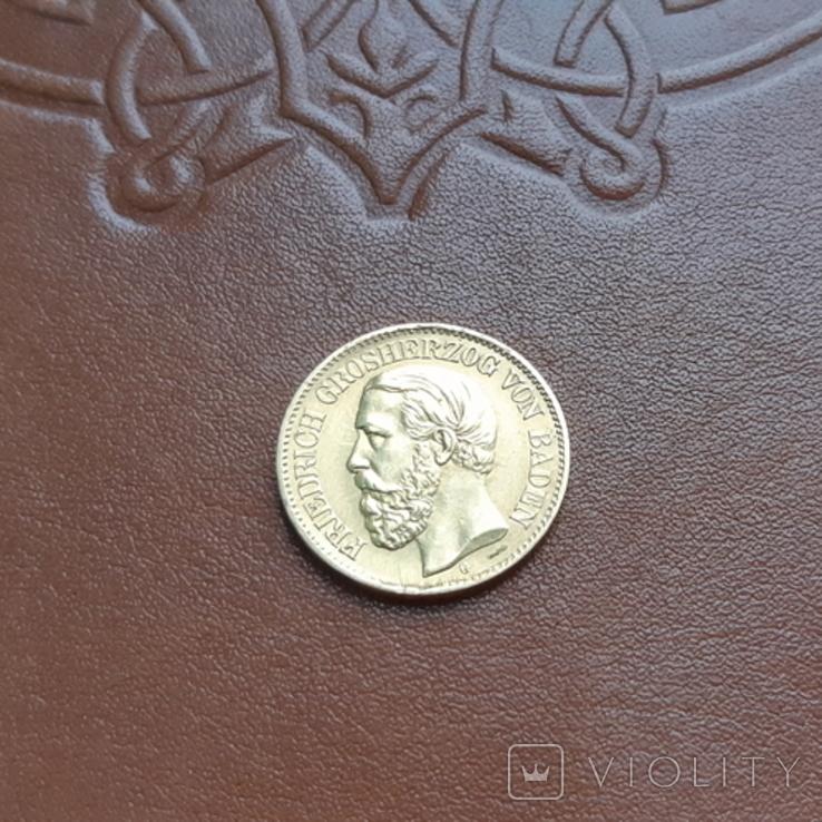 Золото. 10марок 1875 Баден, фото №4