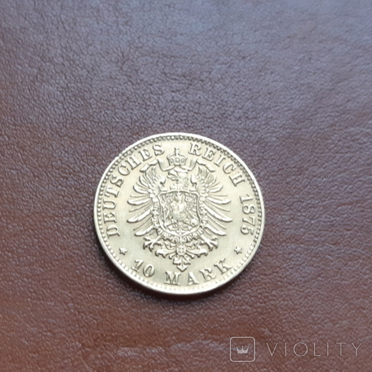 Золото. 10марок 1875 Баден, фото №5