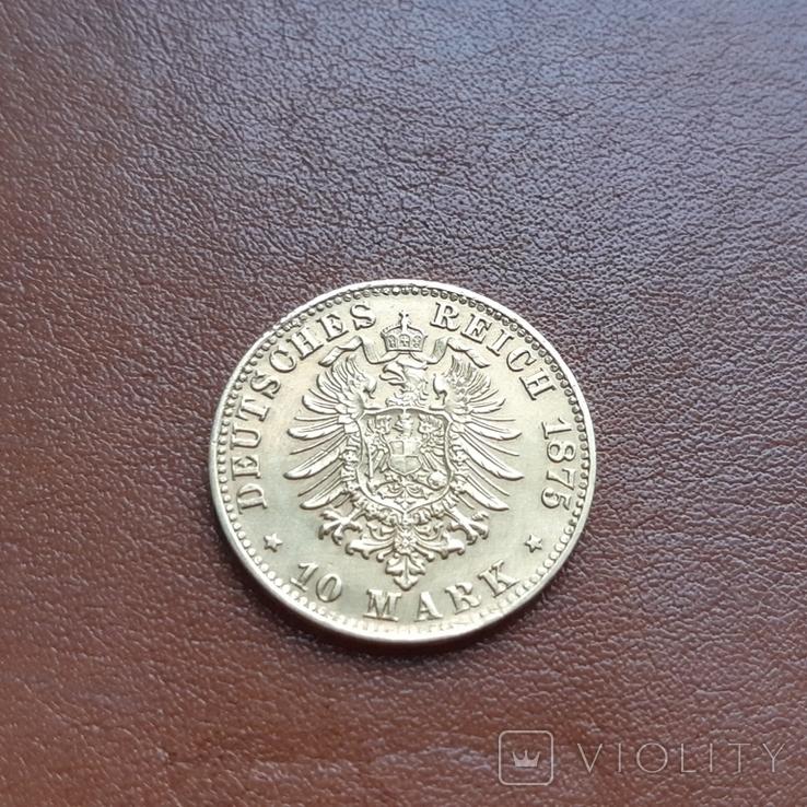 Золото. 10марок 1875 Баден, фото №7