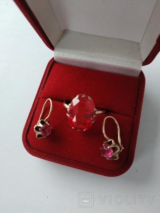 Серьги и кольцо 875-я со звездой, фото №4