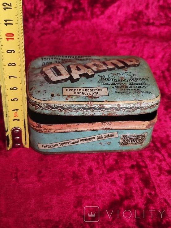 Жестяная коробка Одоль гигиенический порошок для зубов БССР Флорида, фото №8