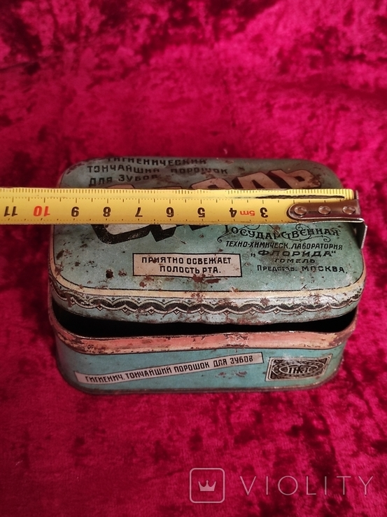 Жестяная коробка Одоль гигиенический порошок для зубов БССР Флорида, фото №9