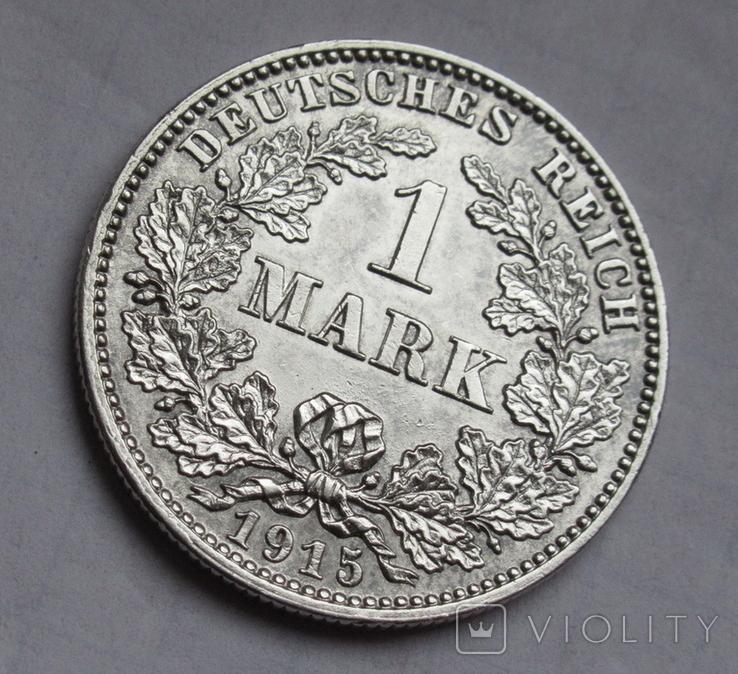 1 марка 1915 г. (J) Германия, серебро, фото №3