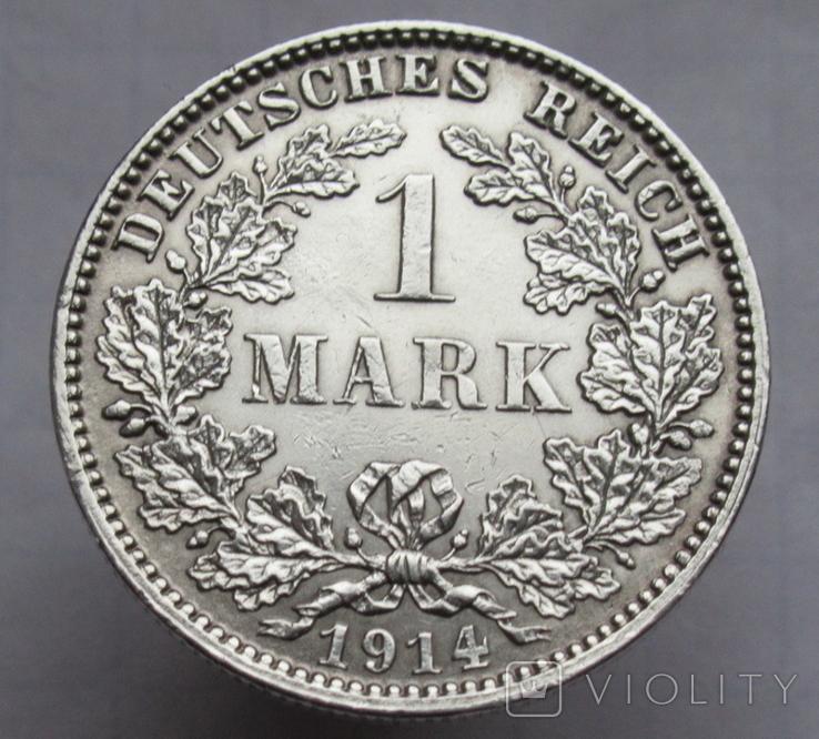 1 марка 1914 г. (J) Германия, серебро, фото №3