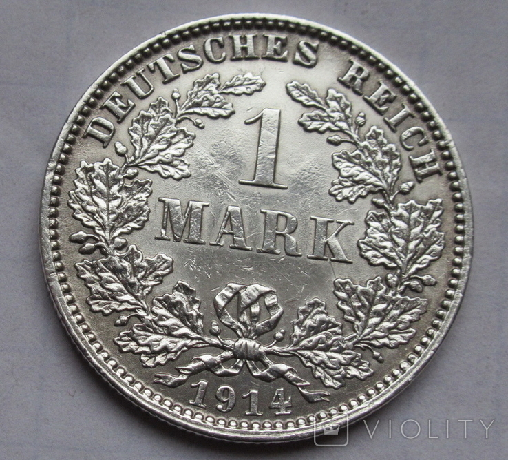 1 марка 1914 г. (J) Германия, серебро, фото №5