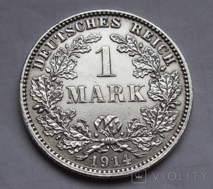 1 марка 1914 г. (J) Германия, серебро, фото №6