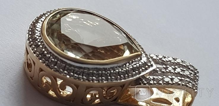 Подвес из лимонного золота 585 пробы,цитрин и бриллианты., фото №2