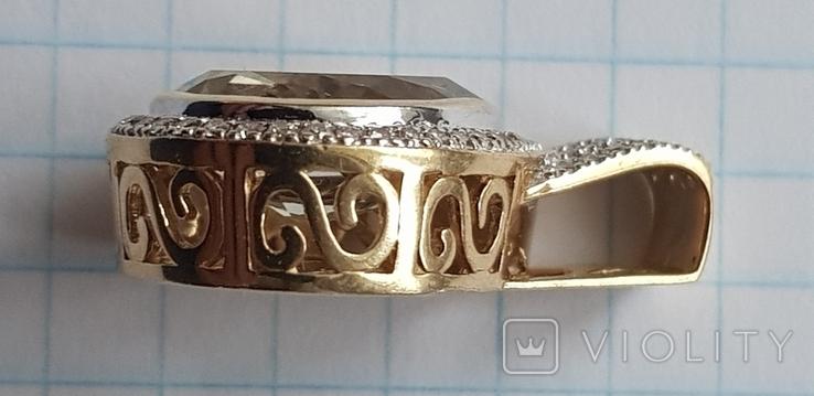 Подвес из лимонного золота 585 пробы,цитрин и бриллианты., фото №4