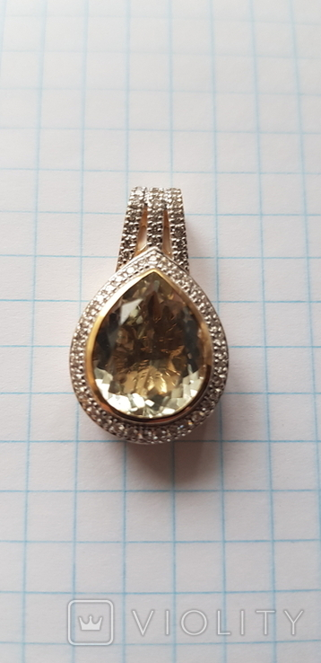Подвес из лимонного золота 585 пробы,цитрин и бриллианты., фото №7