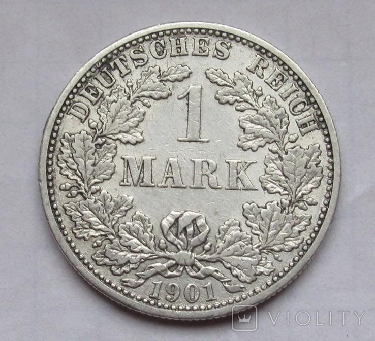 1 марка 1901 г. (F) Германия, серебро, фото №5